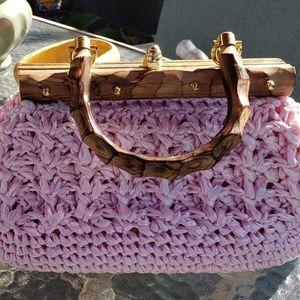 Vintage Pink Raffia purse